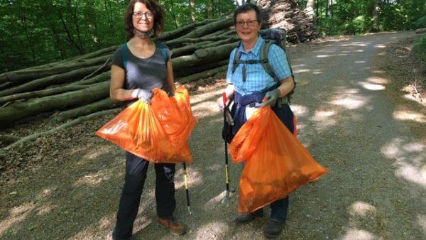 Teams der Grünen sammeln Müll im Wald